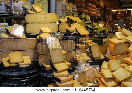 Shelves With Famous Dutch Cheese In The Traditional Cheese Shop