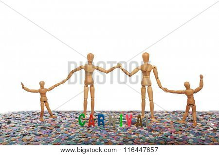 Dummy Family at Carnival Party Time Theme on white background