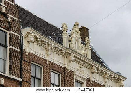 Traditional Roof Of Old Building In Harlem, The Netherlands