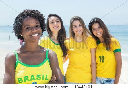 Group Of Brazilian Sports Fans At Beach
