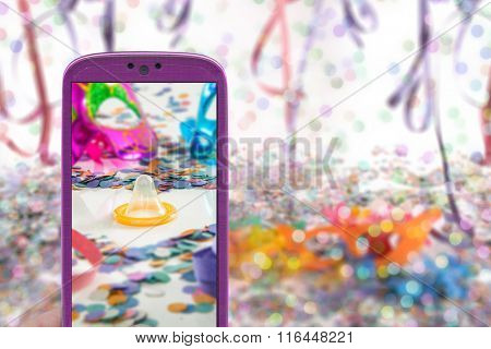 Carnival technology and protection - Female smartphone and condom