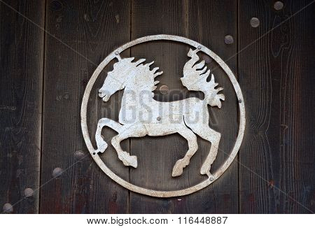 KOPRIVSHTITSA, BULGARIA - NOVEMBER 23, 2014: Nice symbol of a horse in Koprivsthitsa, Bulgaria