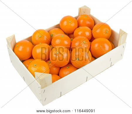 A wooden box of tangerines