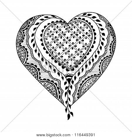 Vector Ornament In Indian Style. Mehndi Ornamental Heart