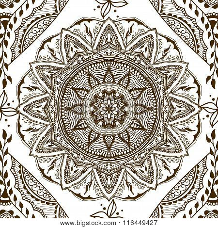 Vector Seamless Texture With Floral Mandala In Indian Style. Mehndi Ornamental Background