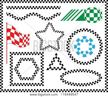 Race Flag Set Various Designs, Vinyl Ready Vector Illustration