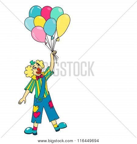 Clown Holding Colorful Balloons.