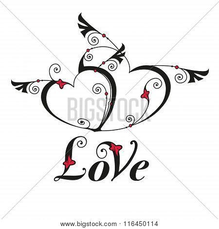 Two Heart With Wings For Design Template