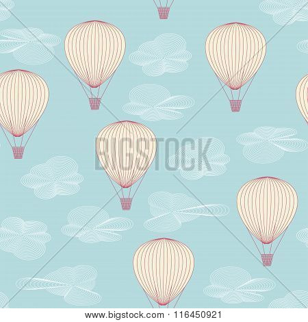 Seamless Pattern Made Of Balloons Flying In The Summer Sky Between The Clouds. No Mesh, Gradient, Tr