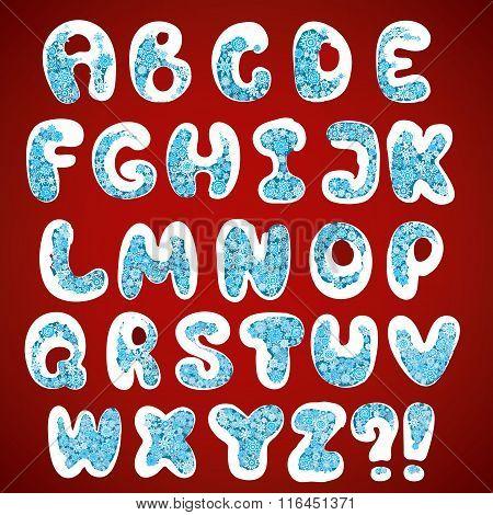 Christmas snowflakes alphabet