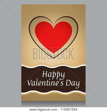 card St. Valentine's Day rectangle,red,brown,beige text,valentin heart,flyer,elements,business day,template glossy background,illustration symbol,invitation leaflet, vektor, valentine design banner,