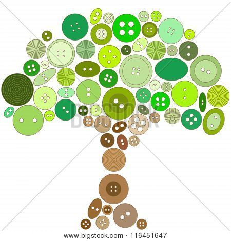 Tree Made Of Green And Brown Buttons. No Mesh, Gradients, Transparency Used. Objects Grouped And Nam