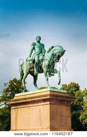 Statue of Norwegian King Karl Johan XIV in Oslo, Norway