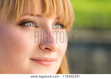 Young Confident Student Girl With Grey Eyes