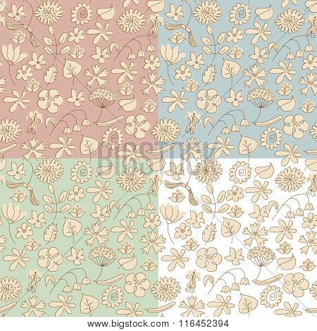 Seamless Background Made Of Beige Wildflowers. 4 Variants Of Background Color. Objects Grouped And N