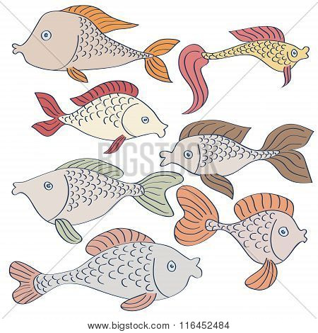 Set Of Hand-drawn Cartoon Fishes On White Background.