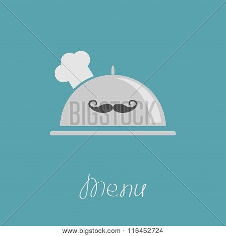 Silver Platter Cloche Chef Hat With Moustache. Menu Card. Flat Design.