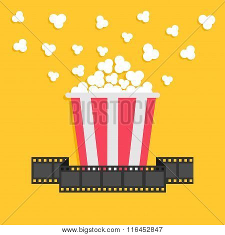 Popcorn. Film Strip Ribbon. Red Yellow Box. Cinema Movie Night Icon In Flat Design Style.