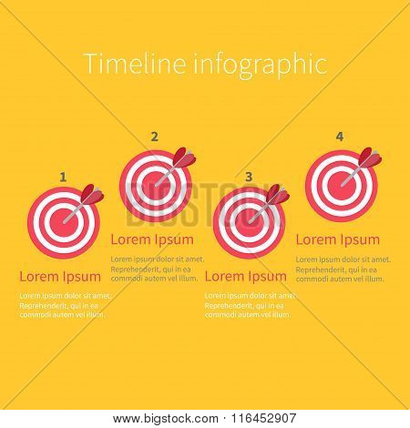 Infographic Timeline Four Step Round Circle Target. Numers. Template. Flat Design. Yellow Background