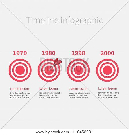 Infographic Timeline Four Step Round Circle Target. Template. Flat Design. Isolated.