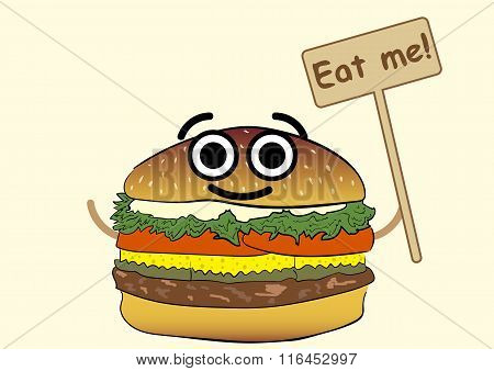 Cheerful smiling hamburger