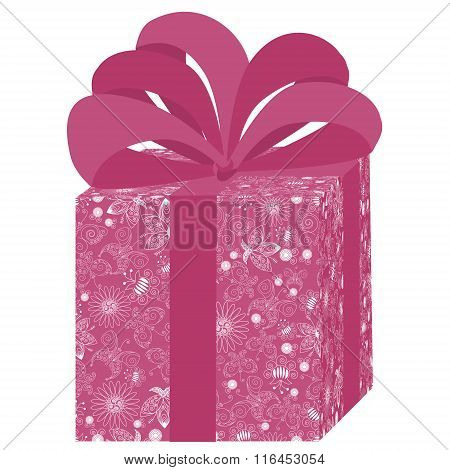 Pink Gift Box With White Pattern And Lush Bow On White Background