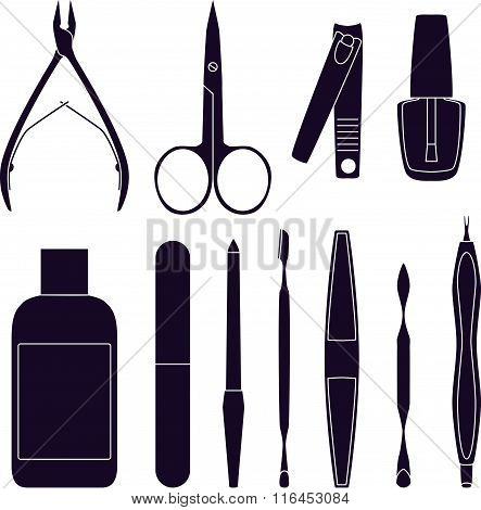Set Of Tools For Manicure. Vector Illustration