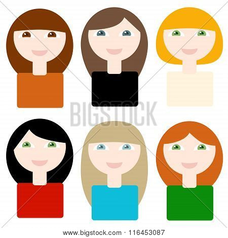 6 Different Smiling Cartoon Women On White Background. Objects Grouped And Named In English. No Mesh