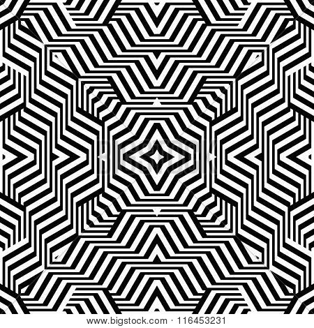 Design Seamless Monochrome Lines Geometric Pattern