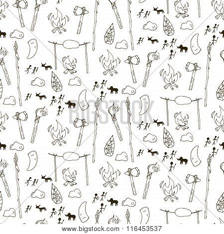 Seamless Prehistorical Pattern In Cartoon Style