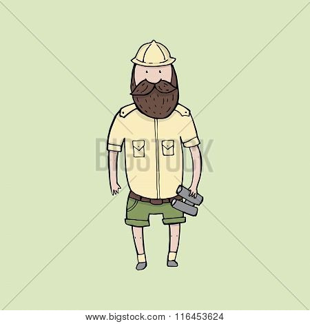 Exploring Bearded Man With Binoculars