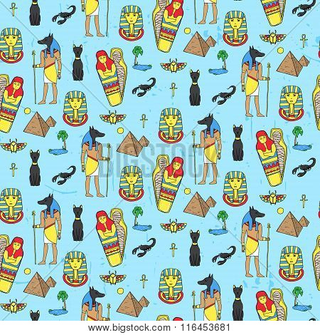 Seamless Pattern With Egyptean Elements Such As Anubis, Mummy, Pyramids, Scarabs, Etc