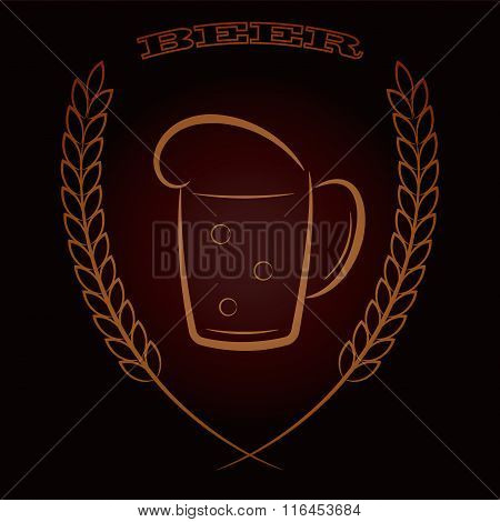 Mug beer with ears of wheat on dark brown background