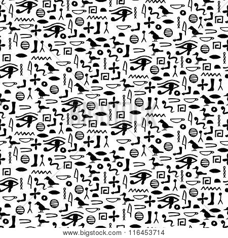 Seamless Pattern With Egypt Hieroglyph