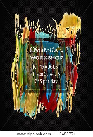 Poster template with abstract acrylic stain background.