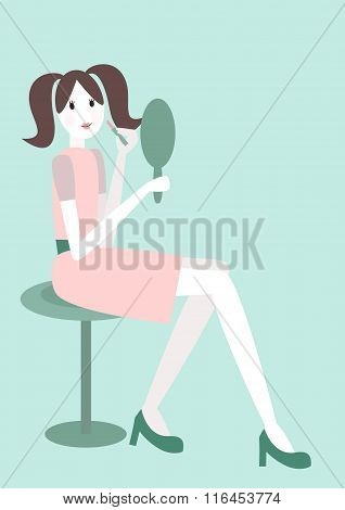 Young Brunette Woman Using Lipstick And Looking In Hand Mirror. No Mesh. Gradient, Transparency Used