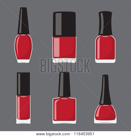 Set Of Flat Different Shapes Bottles With Nail Polish