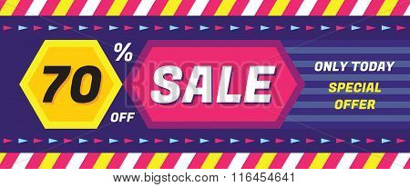 Concept vector banner - special offer - only today 70% off sale. Sale vector banner. Sale abstract.