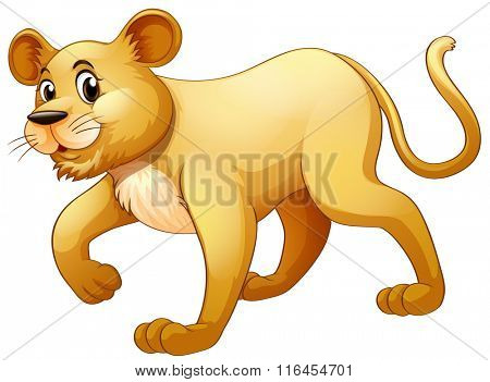 Little cub walking alone illustration