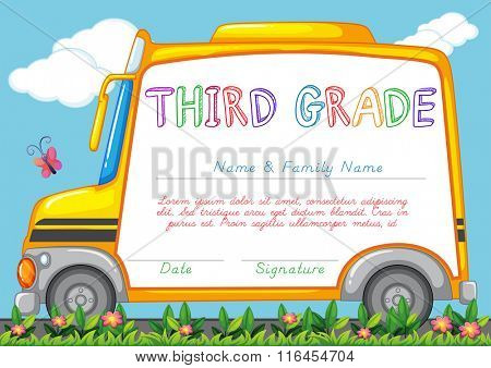 Certification template for third grade students illustration