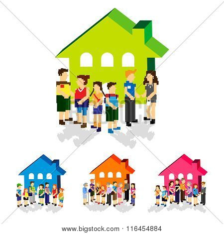 Vector Pixelated Residents and Communities Illustration Variations