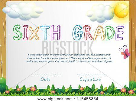 Certification for six grade illustration
