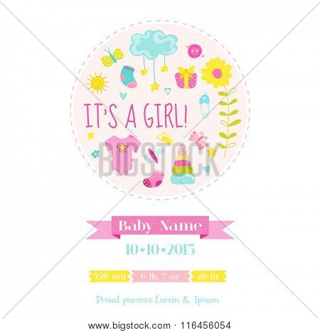 Baby Girl Shower or Arrival Card - with Baby Elements - in vector