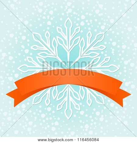 Winter snowflake red banner with copy space.