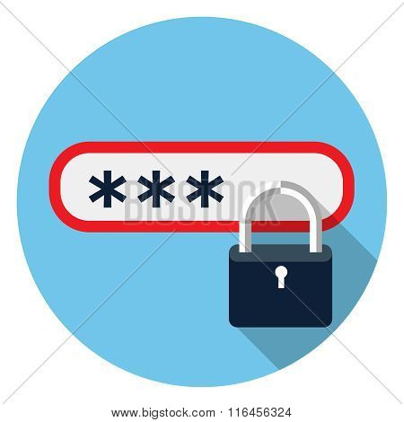 Password protected flat icon