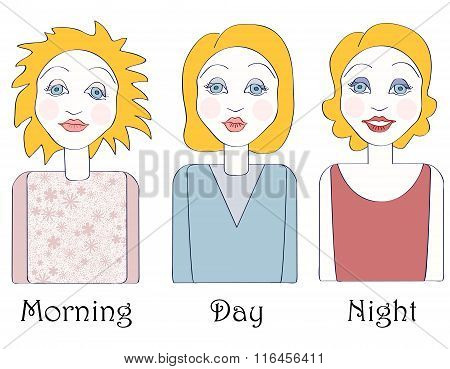 Set Of Young Caucasian Woman In Three Times Of The Day: Morning, Day And Night. No Mesh,gradient, Tr