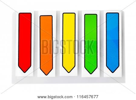 Colourful bookmarks, isolated on white background
