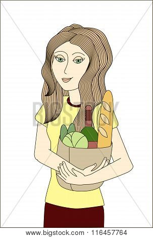 Blonde Woman Holding Paper Bag With Foodstuffs. No Mesh, Gradient, Transparency Used. Objects Groupe
