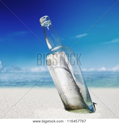 Message in a Bottle on Beach Help Concept