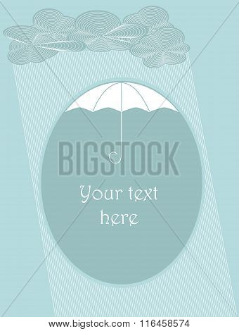 Clouds And Rain Falling Down With Place For Text Under Umbrella. Objects Grouped And Named In Englis